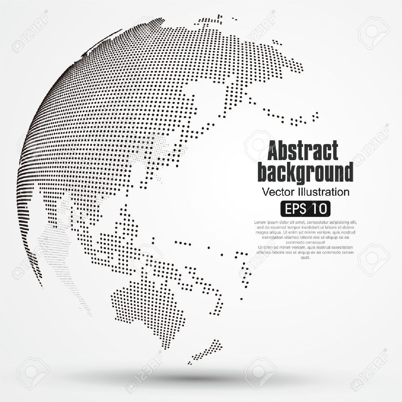 Dot World Map.Three Dimensional Abstract Planet Dot World Map Consisting Of