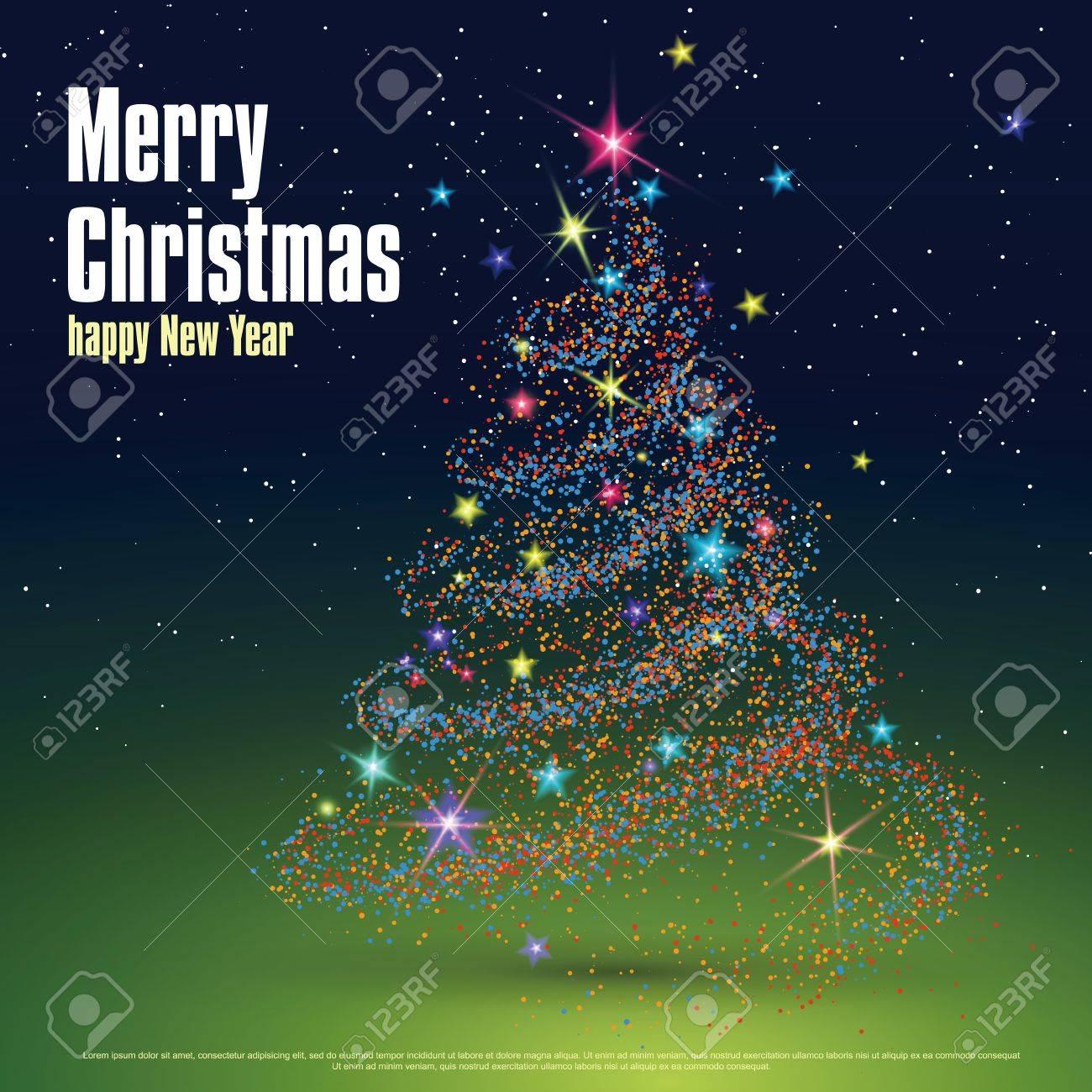Immagini Copertina Natale.L Albero Di Natale Composto Da Particelle Puo Essere Utilizzato Come Copertina Di Un Biglietto Di Auguri Natalizio