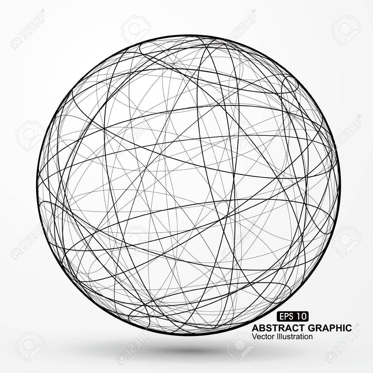 三次元球ワイヤ フレーム曲線乱...