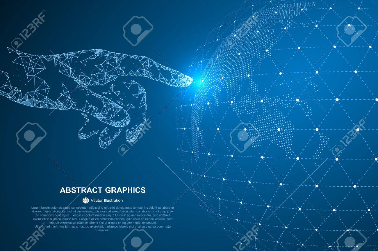 Touch the future, vector illustration of a sense of science and technology. - 64577545