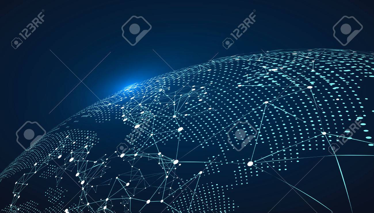 World map point, line, composition, representing the global, Global network connection,international meaning. - 65643414