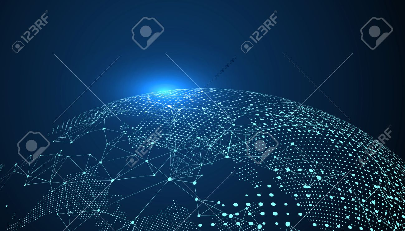 World map point, line, composition, representing the global, Global network connection,international meaning. - 65643410