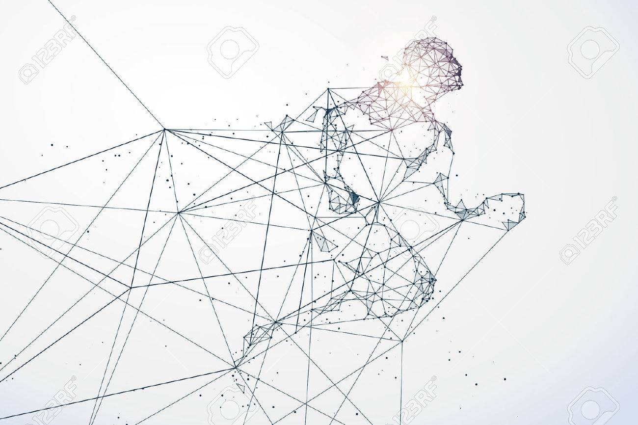 Running Man,Network connection turned into, illustration. - 68450846
