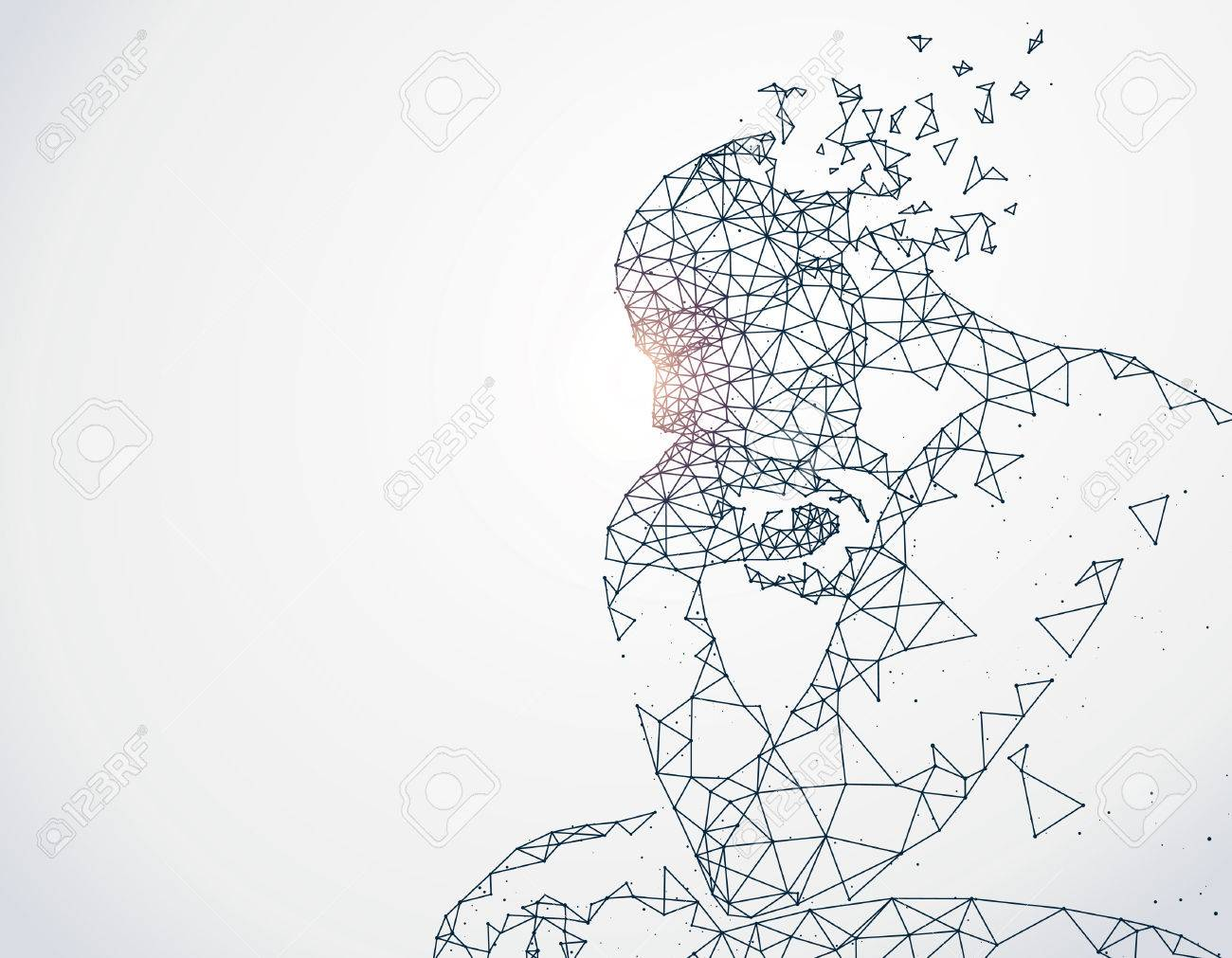 Lines connected to thinkers, symbolizing the meaning of artificial intelligence. - 68925091