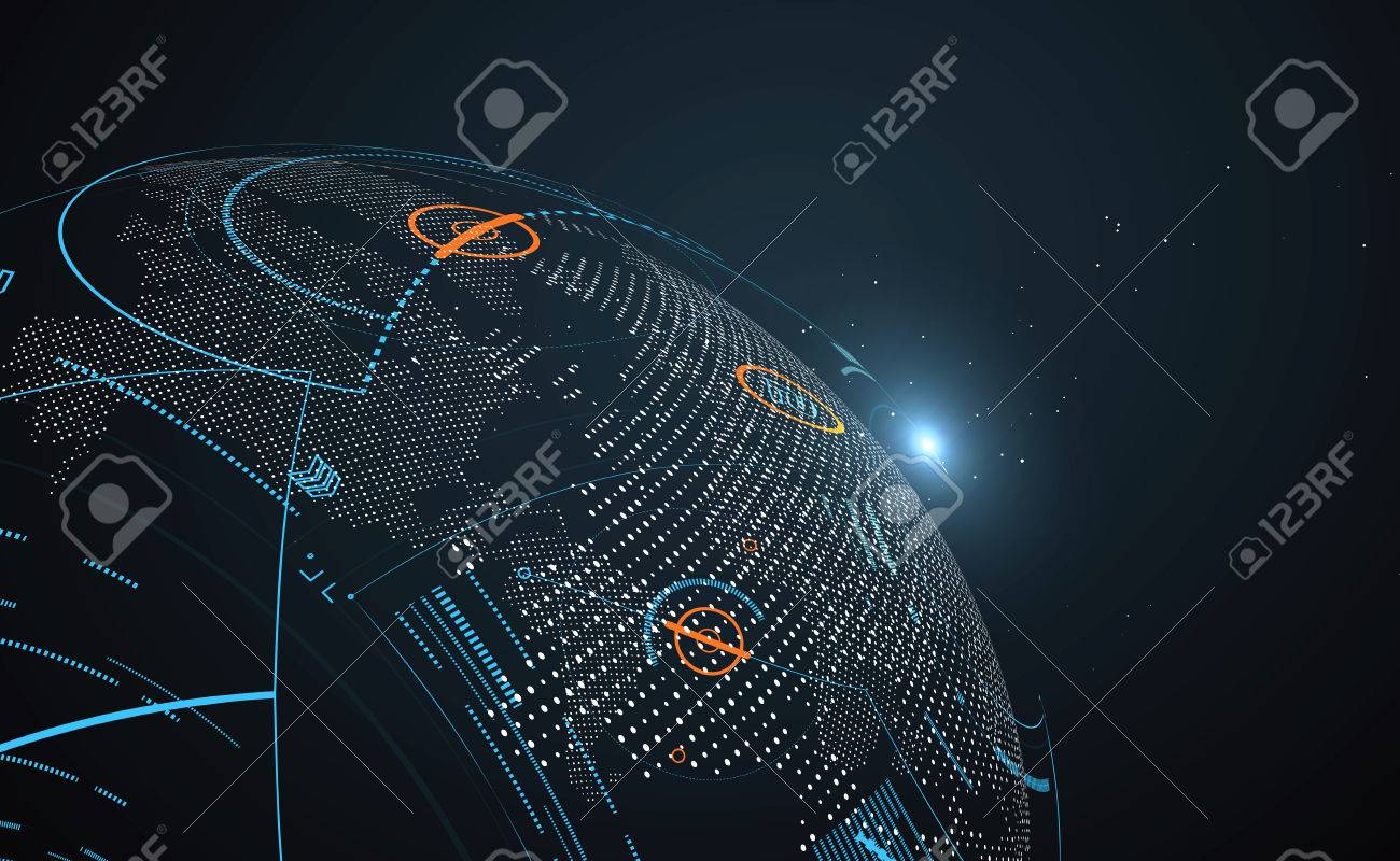 Futuristic globalization interface, a sense of science and technology abstract graphics. - 69122427