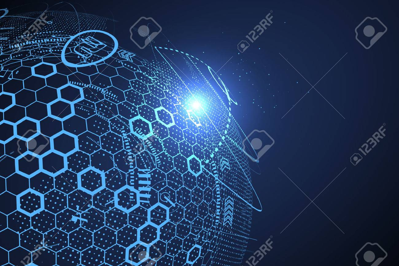 Futuristic globalization interface, a sense of science and technology abstract graphics. - 72076749