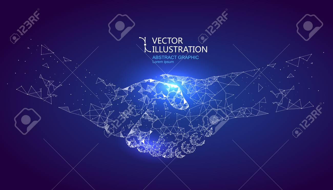 A handshake graphic formed by point and line connection, graphic design of science and technology. - 87871754