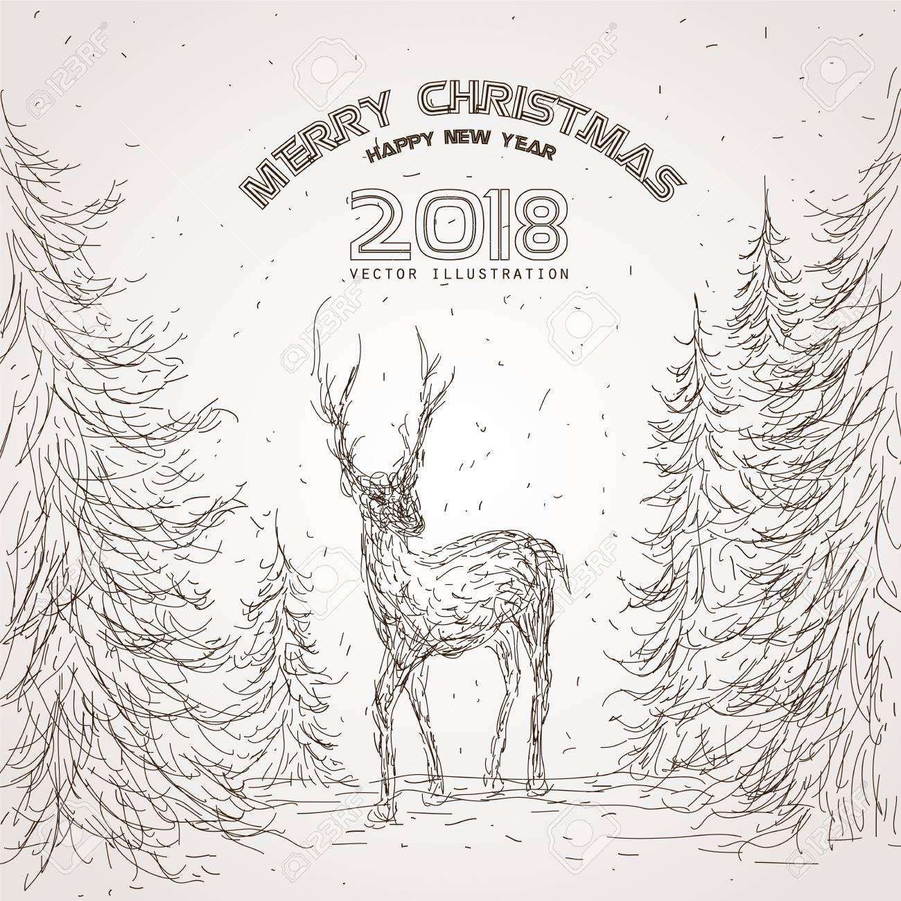 Vintage Christmas Illustrations.The Deer In The Forest The Vintage Christmas Illustrations