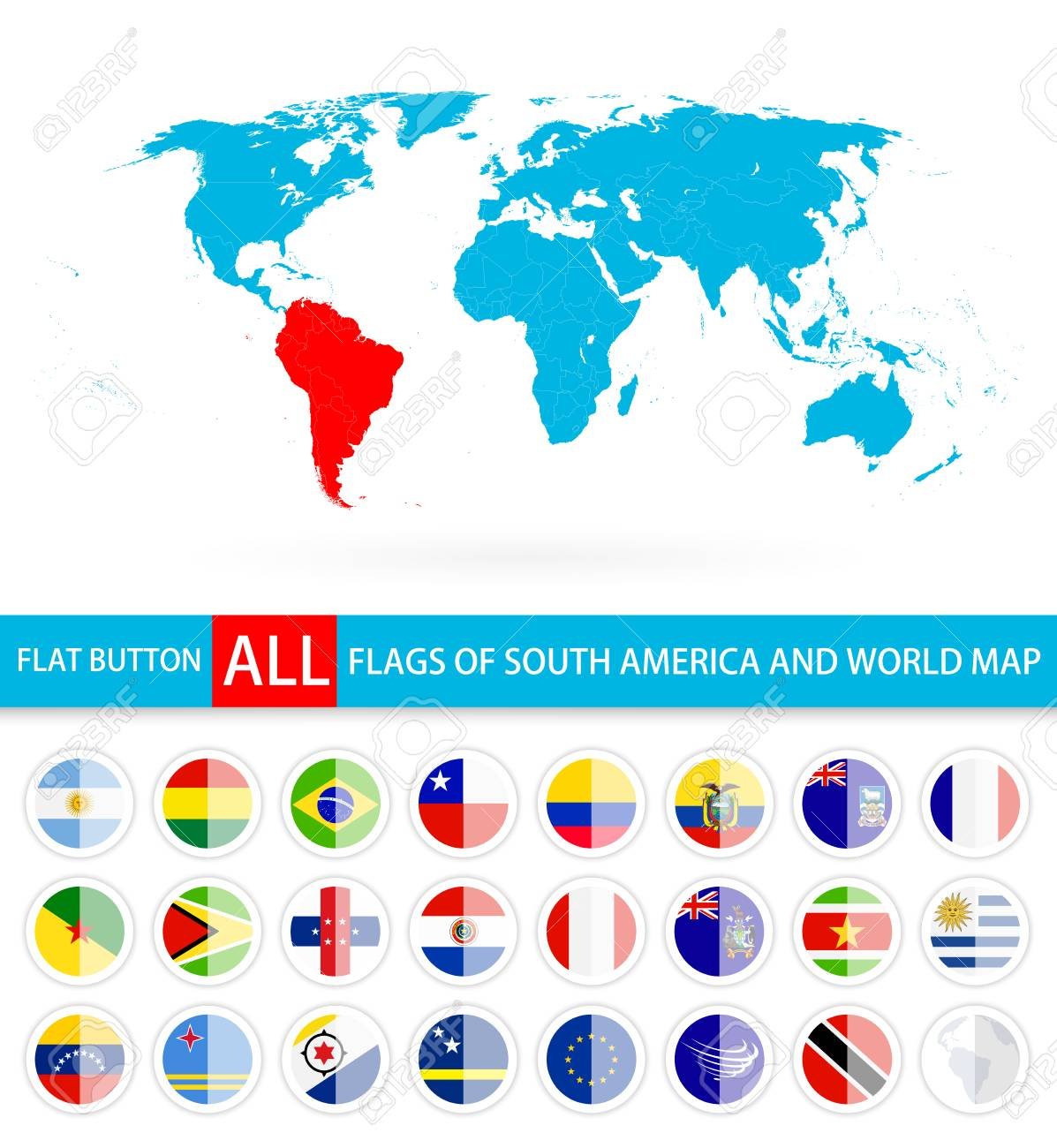 Flat round flags of south america complete set and world map flat round flags of south america complete set and world map flag set in alphabetical gumiabroncs Choice Image