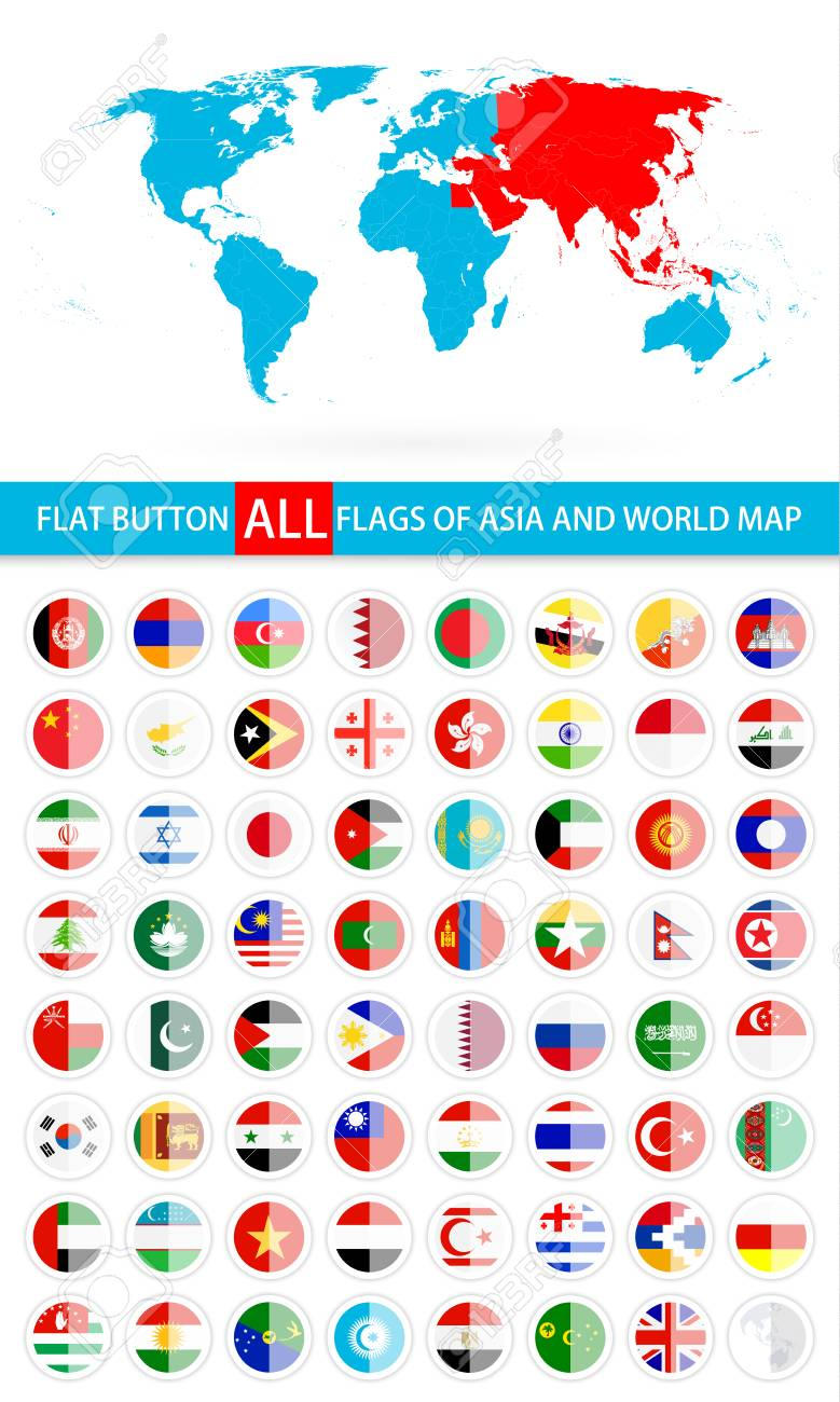 Round flat button flags of asia complete set and world map flag round flat button flags of asia complete set and world map flag set in alphabetical gumiabroncs Image collections