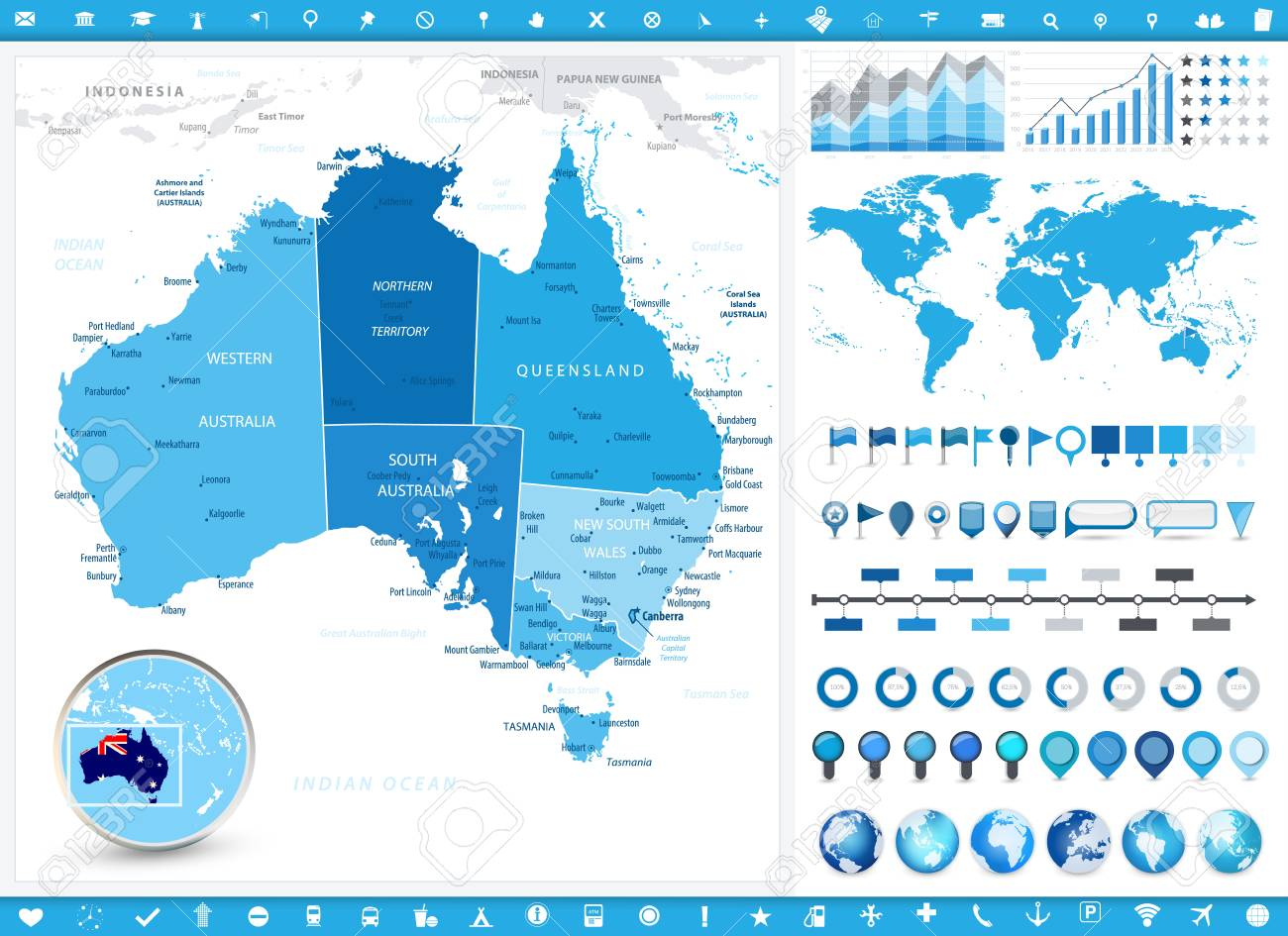 Australia Map Detailed.Australia Map And Infographic Elements Detailed Vector Illustration