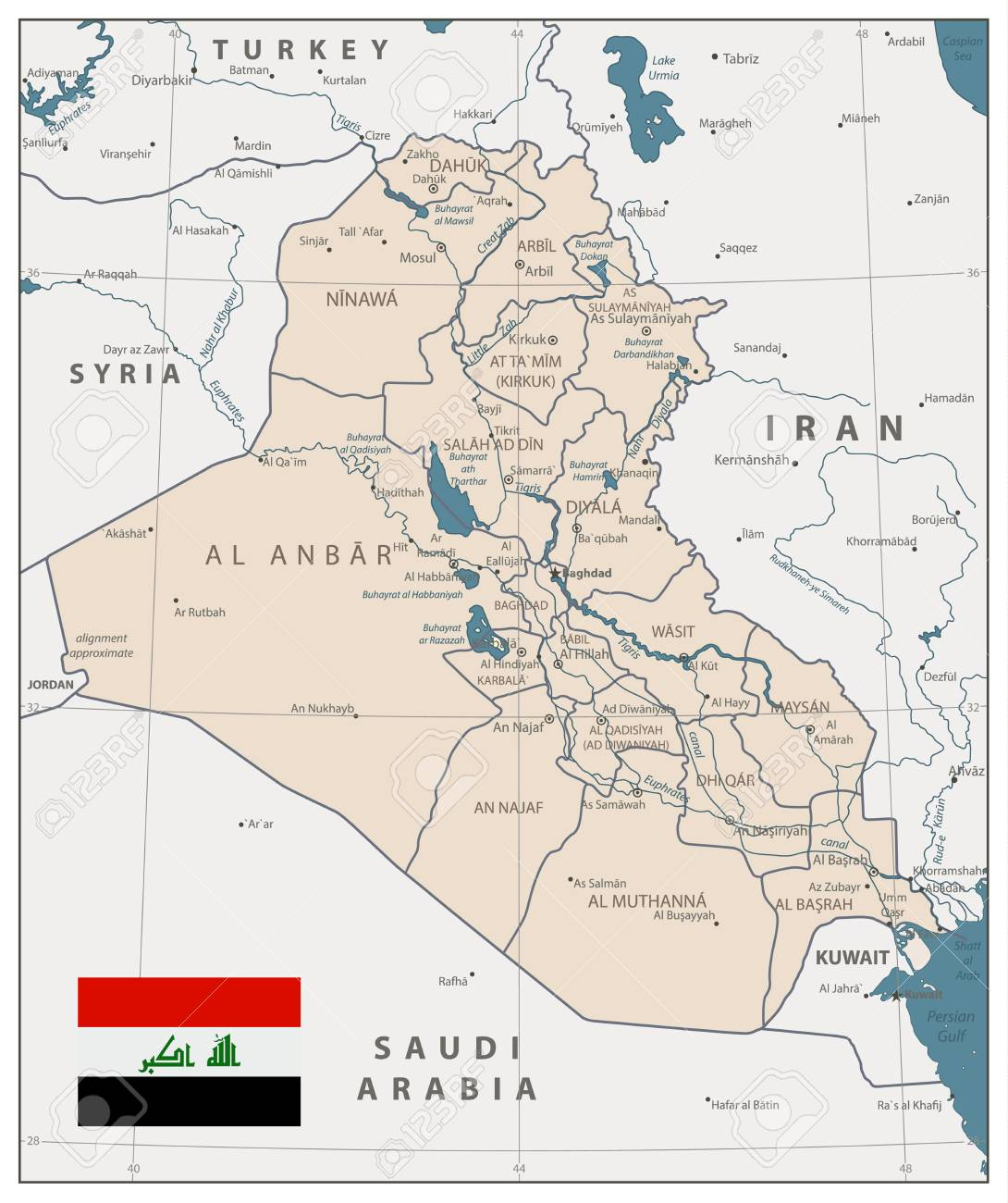 Iraq Map Old Colors. Iraq Map With Capital Baghdad, National ...