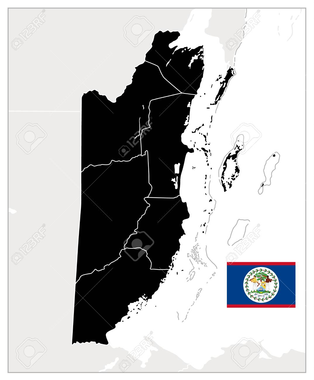 Belize Blank Black Map. Detailed Map Of Belize. No Text. Vector ...