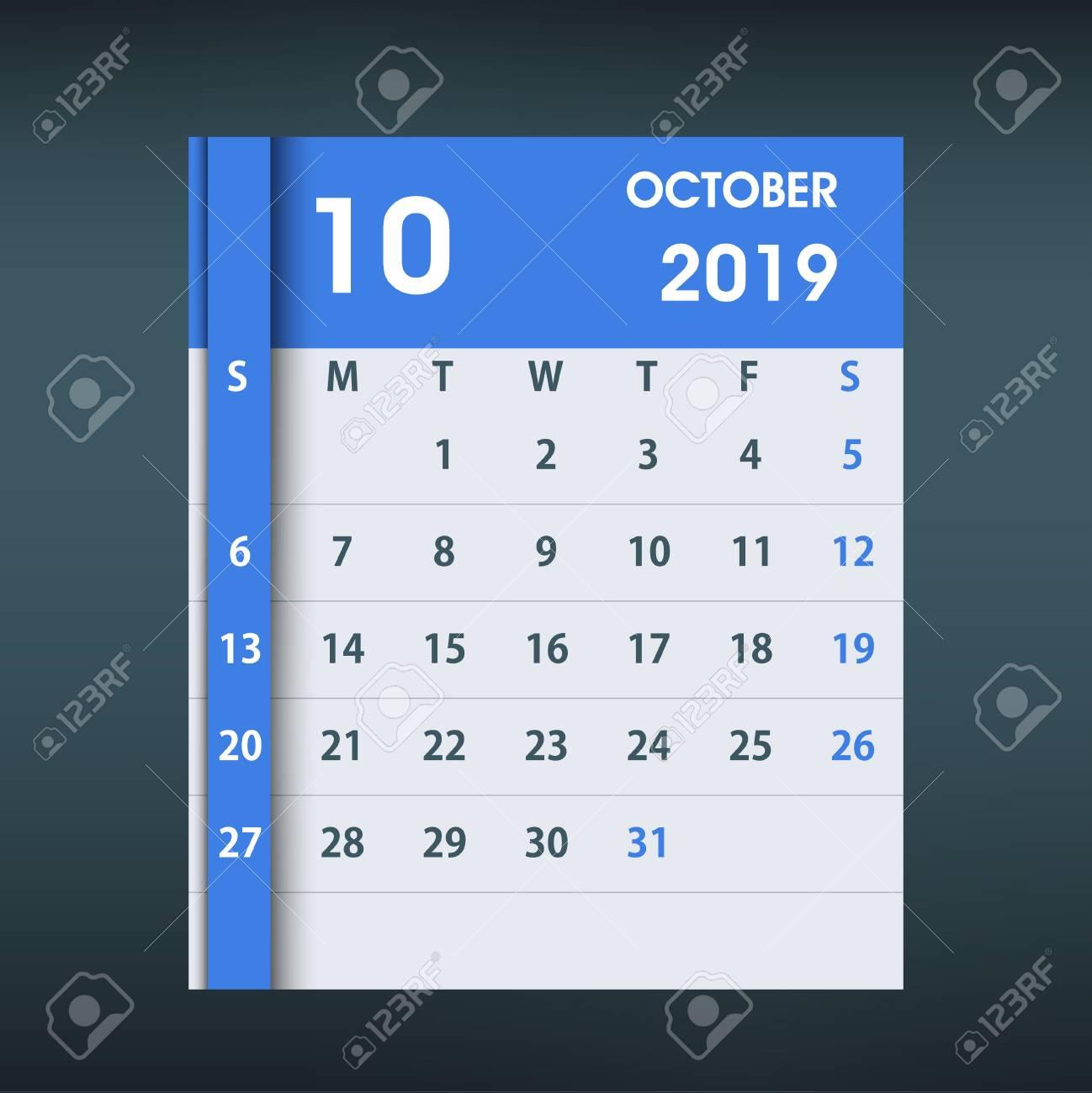 October 2019 Calendar Leaf Flat Design Monthly Calendar Design