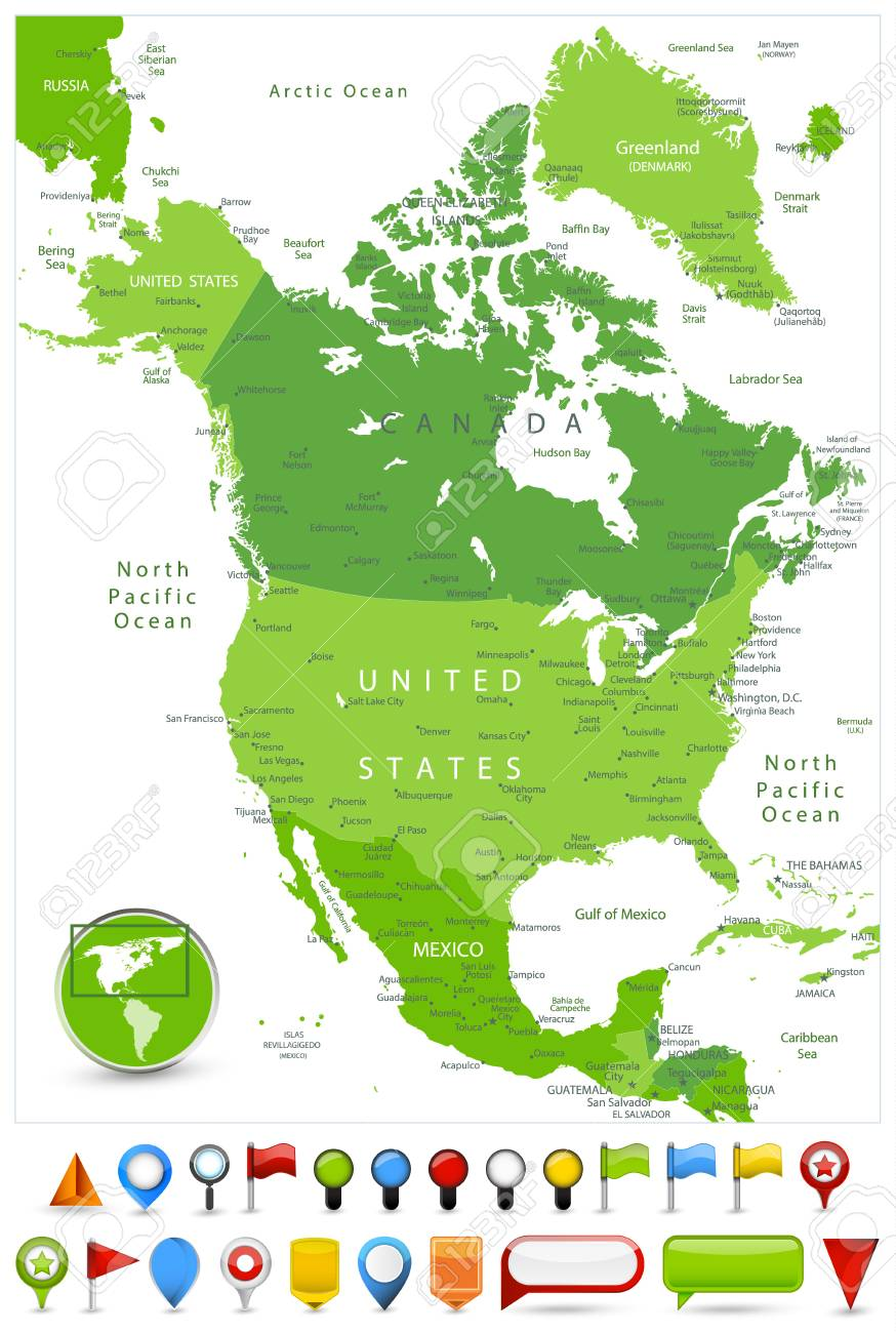Color Map Of North America.North America Map Spot Green Colors And Glossy Icons Detailed