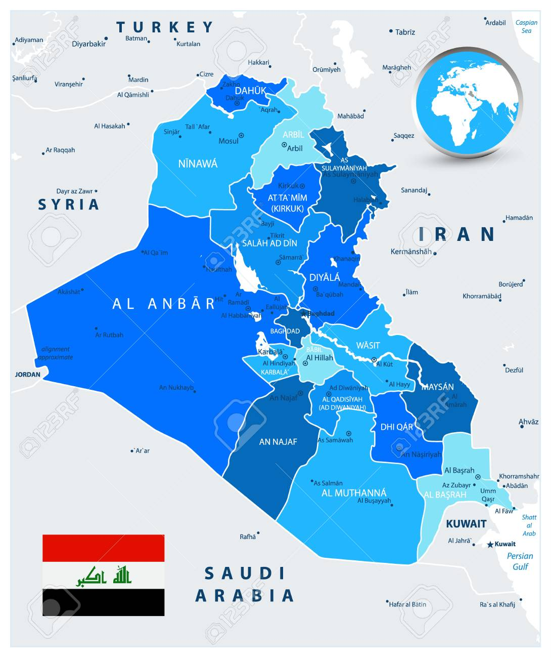 Iraq Political Map in colors of blue with capital Baghdad, national..