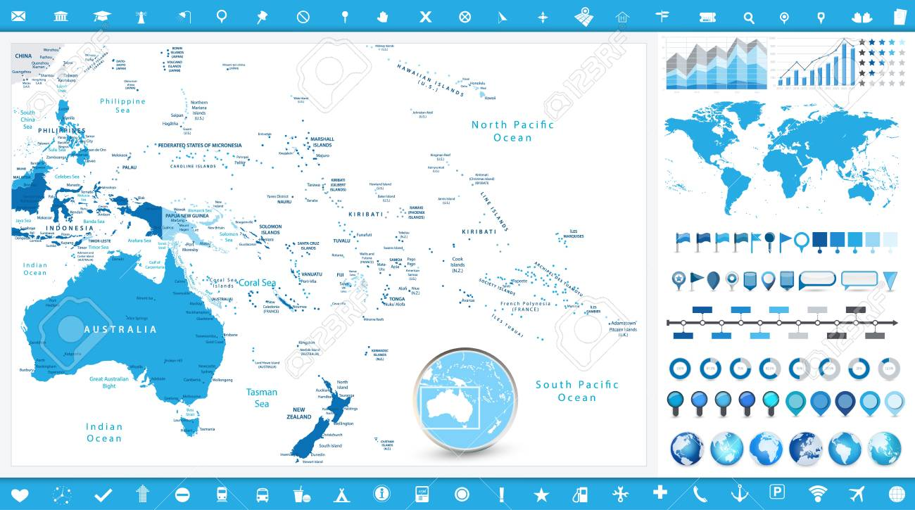 Australia and Oceania Map and infographic elements. Detailed..