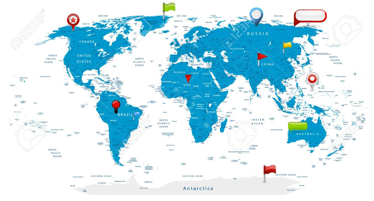 Detailed World Map And Glossy Icons On Map Detailed Vector