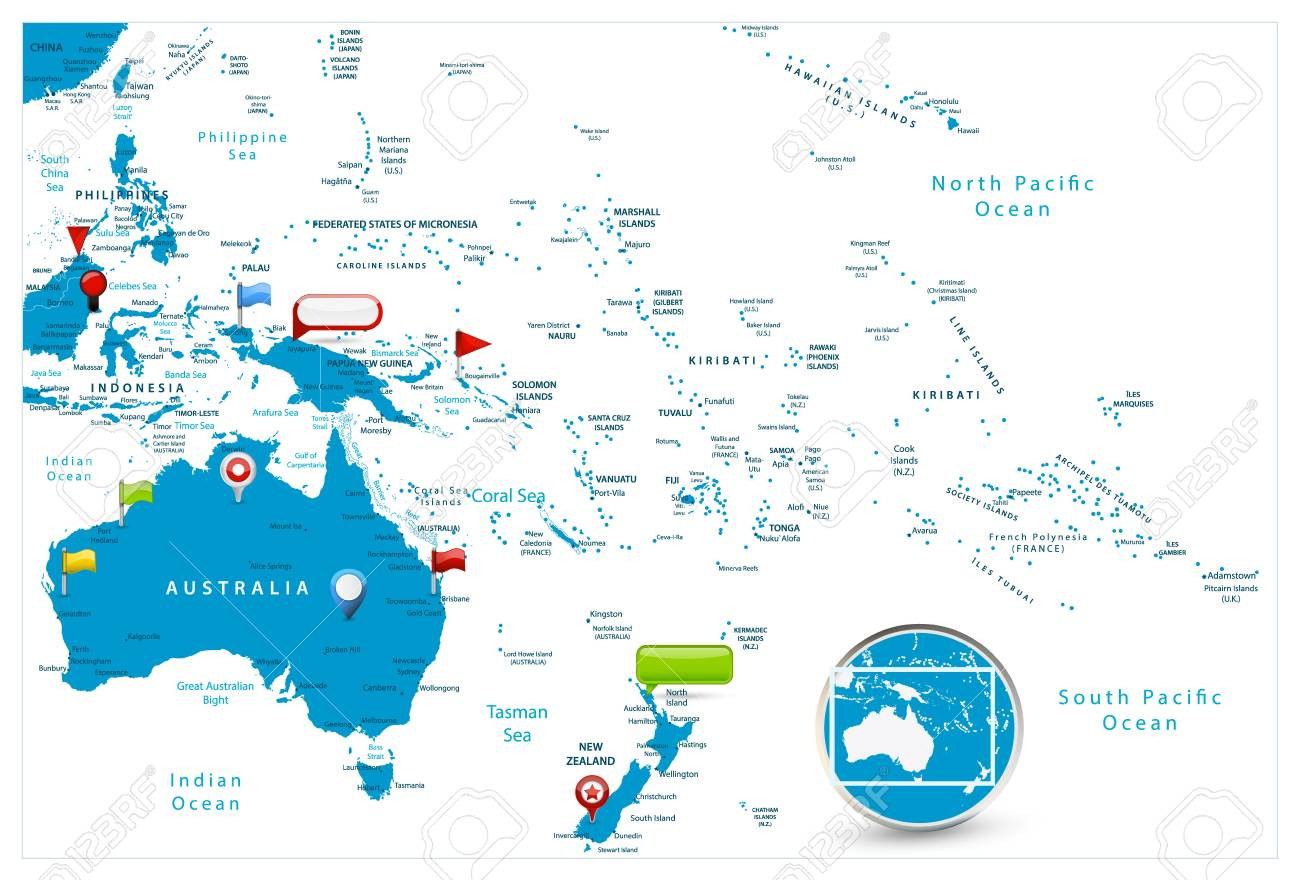 Australia and Oceania Map and glossy icons on map. Detailed vector..