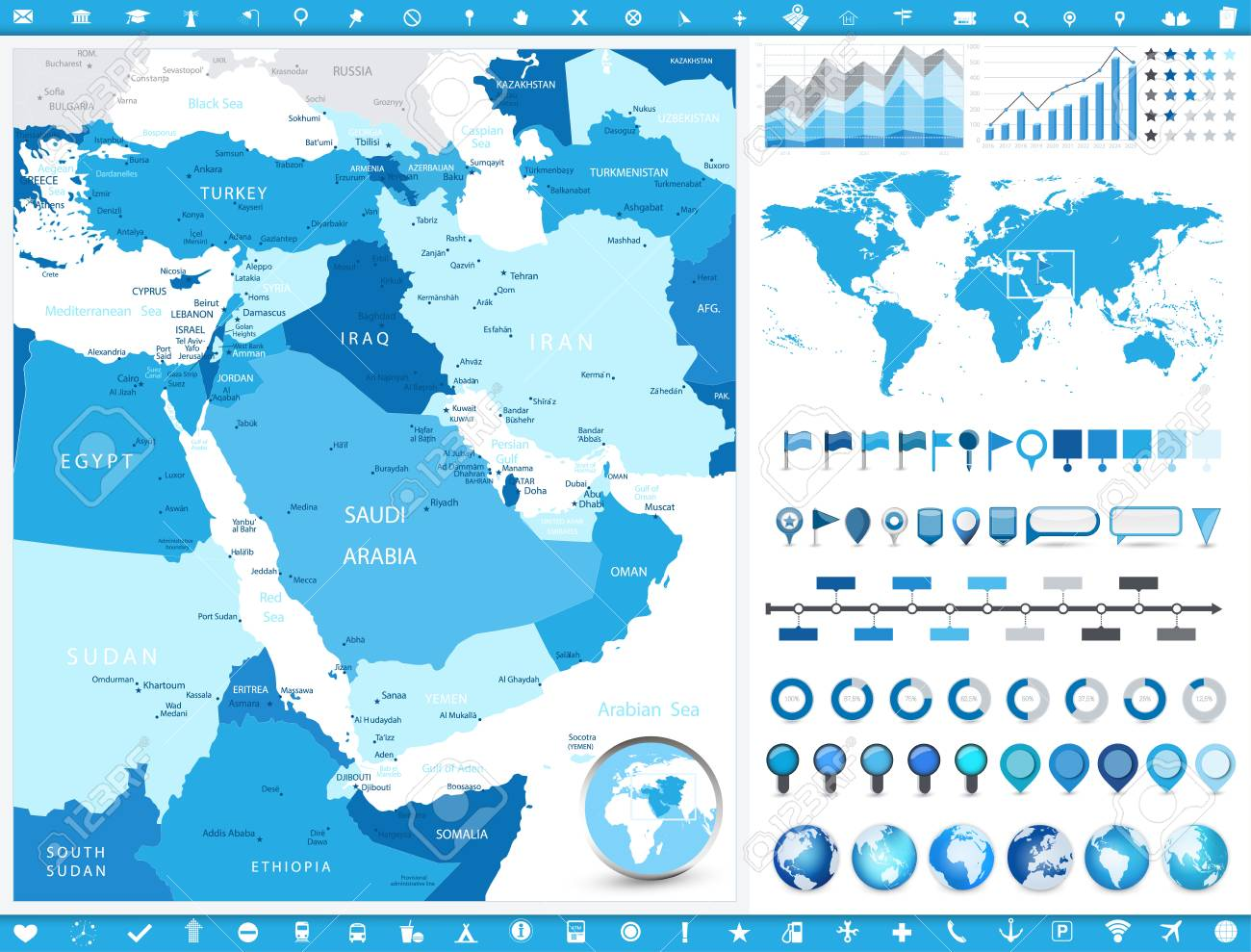 Tehran Middle East Map.Middle East Map And Infographic Elements Detailed Vector