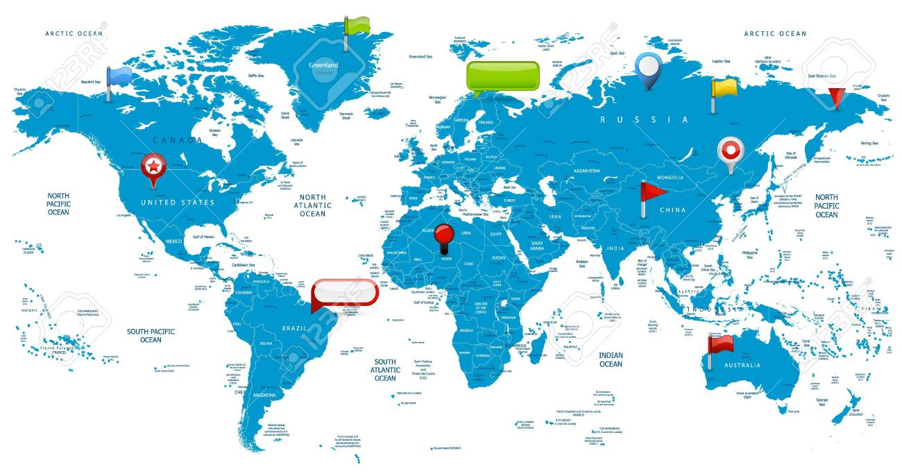 World Map and glossy icons. Detailed vector illustration of map. - 145539107
