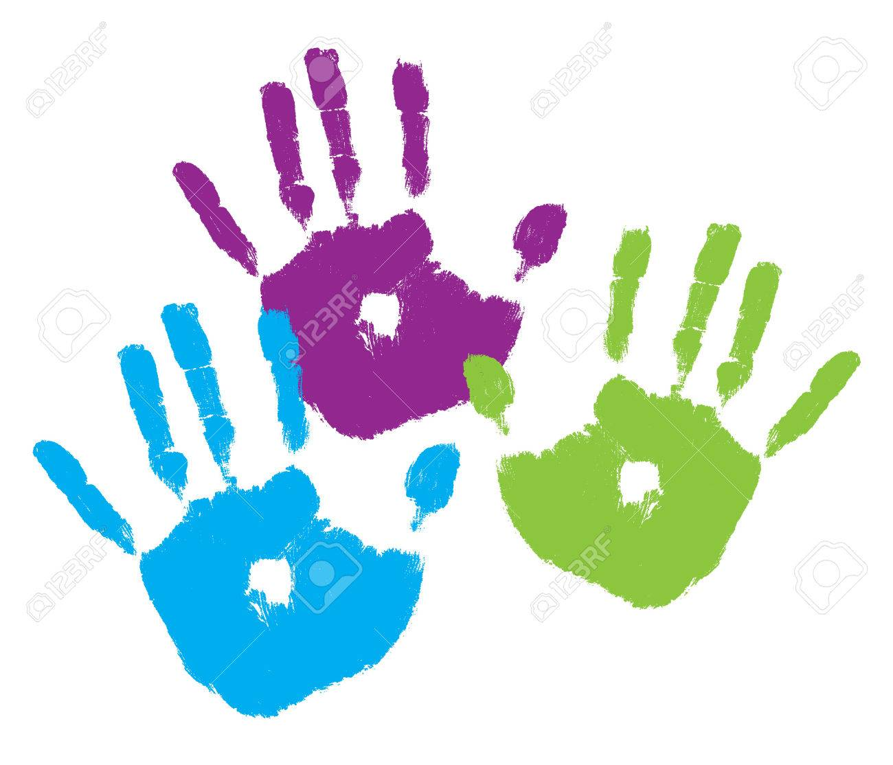 Three kids' handprints in bright colors Stock Vector - 2051295