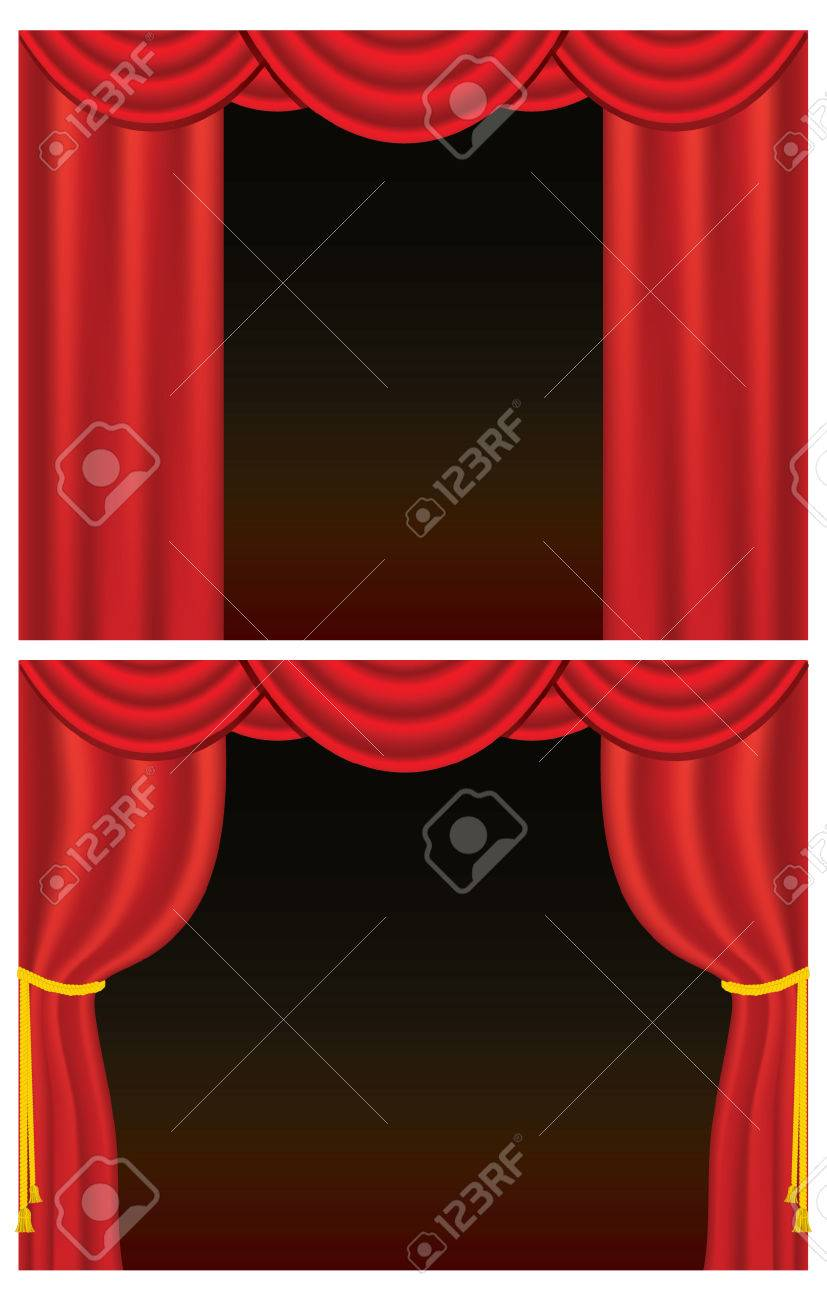 Red velvet theater curtains, one set drawn back with golden rope