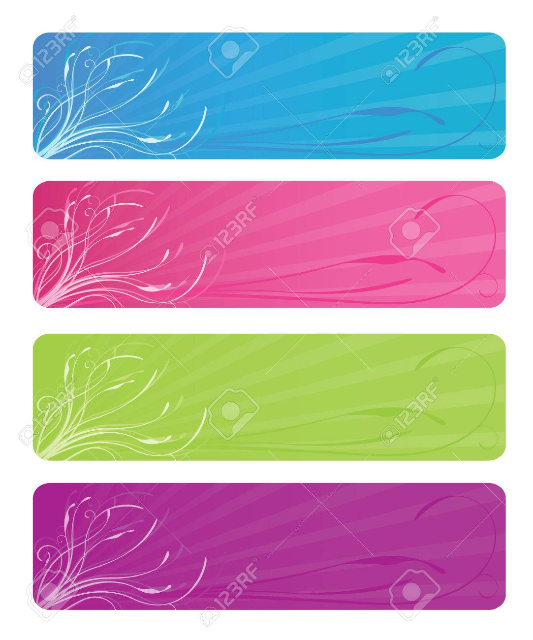 Web colors lime - Four Floral Web Banners In Bright Colors Aqua Hot Pink Lime Green