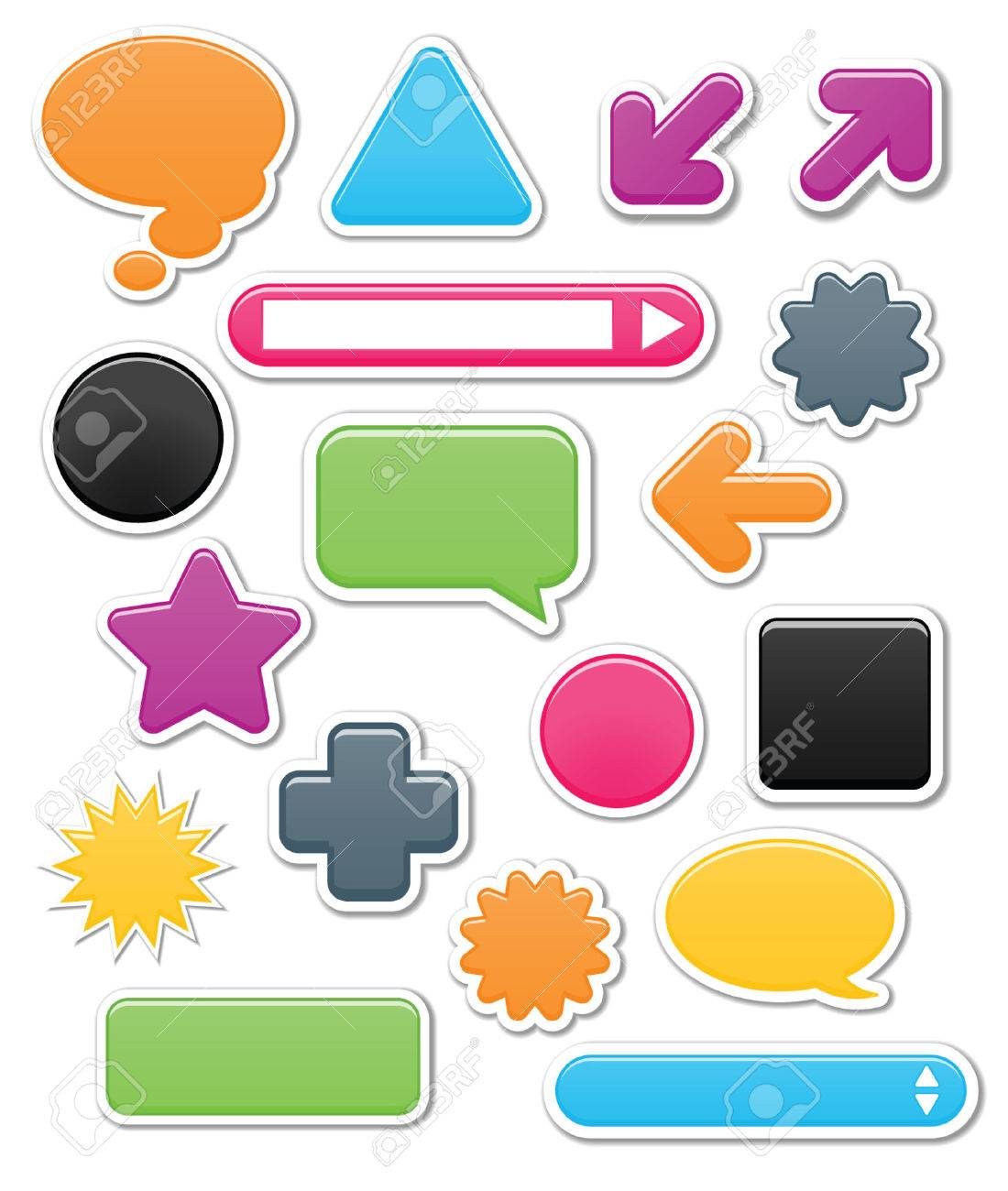 Collection of brightly colored, smooth web elements including: arrows, search bars, speech and thought bubbles. Perfect for adding your own text or icons; vector file contains blends Stock Vector - 4885964