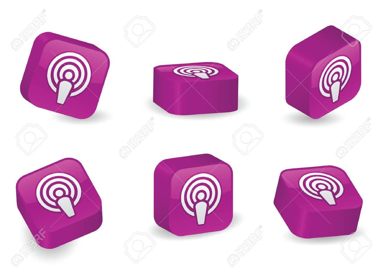 Podcast icon on vibrant, glossy, three-dimensional blocks in various positions Stock Vector - 5270146