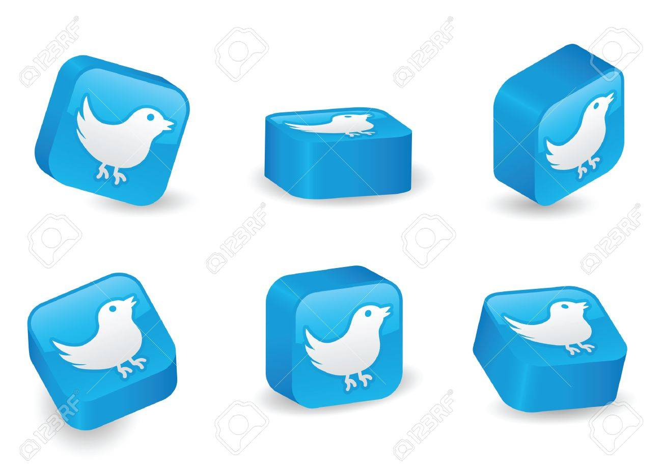 Bird icon on vibrant, glossy, three-dimensional blocks in various positions Stock Vector - 5300021