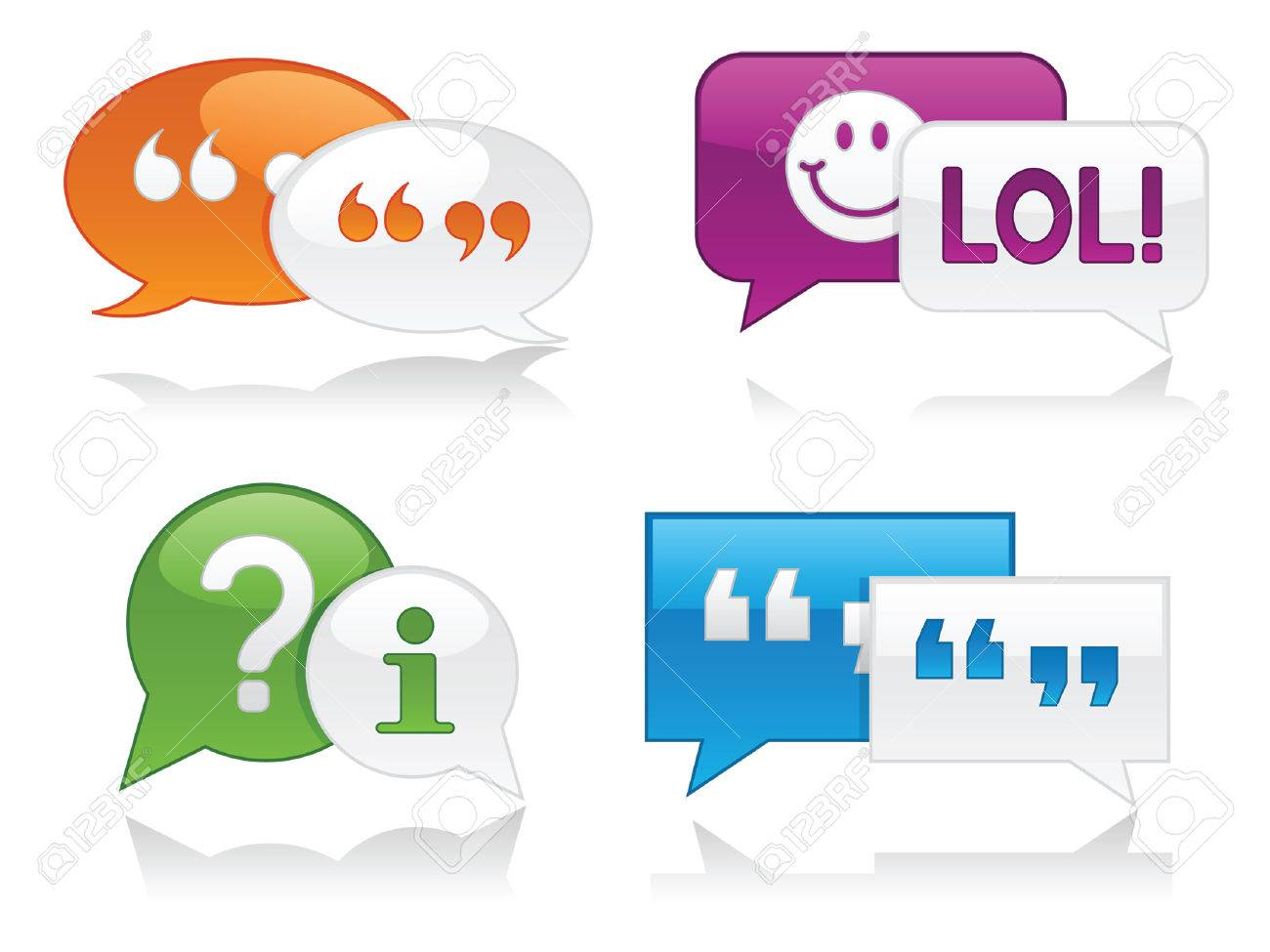 Vibrantly colored, glossy chat bubbles with drop shadows; perfect for web projects Stock Vector - 5334932