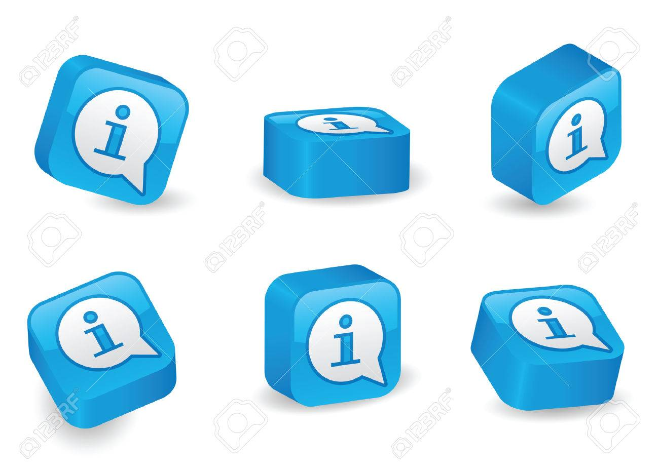 Info (i) icon on vibrant, glossy, three-dimensional blocks in various positions Stock Vector - 5628493