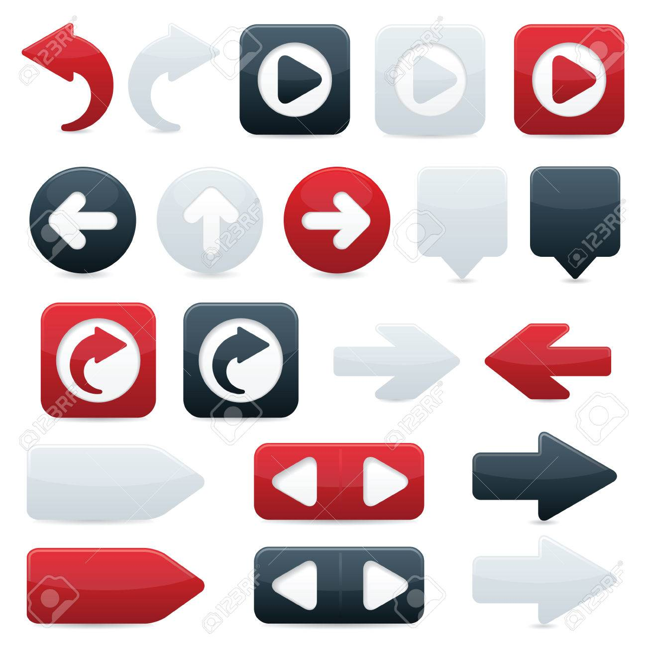 Glossy directional arrow buttons in sleek black, shiny red and smooth white Stock Vector - 7009764