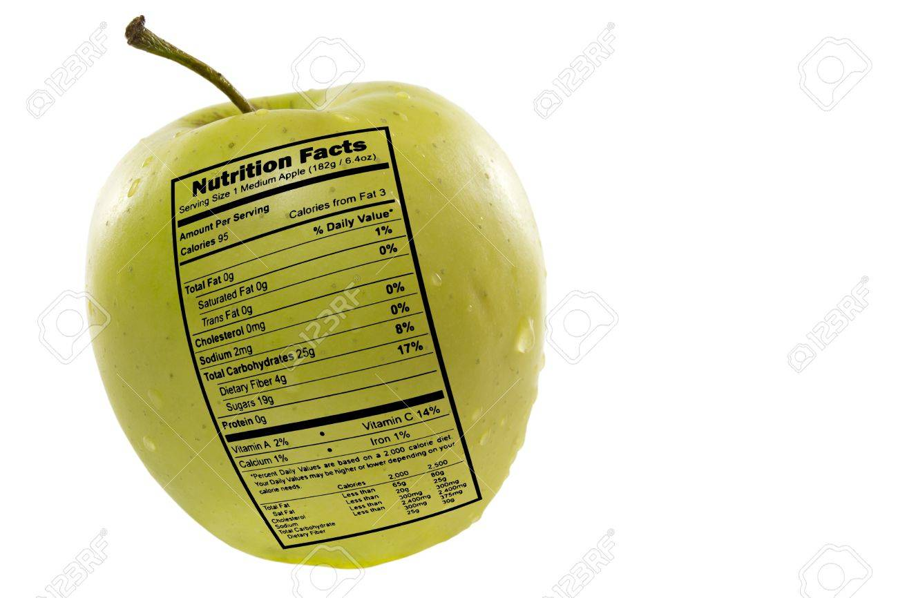 Green Apple With Nutrition Facts Label Stock Photo, Picture And ...
