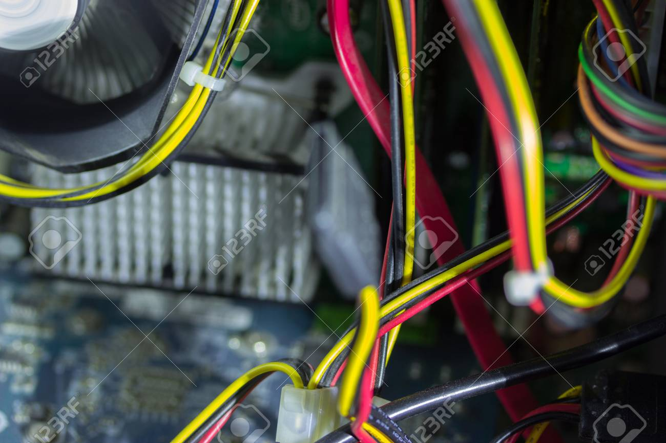 Printed Circuit Board With Many Electrical Components And Cabels Free Stock Image Of Sciencestockphotoscom Photo 97492782
