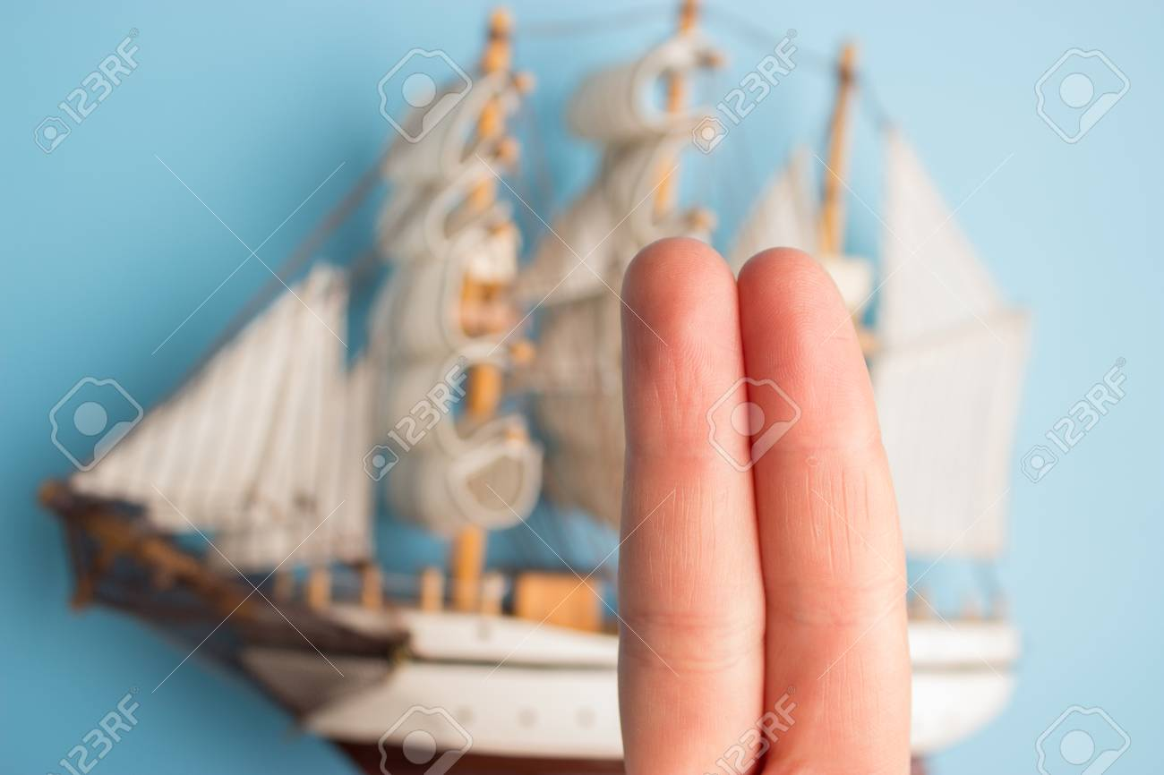 fingers as pirate ship crew  concept image