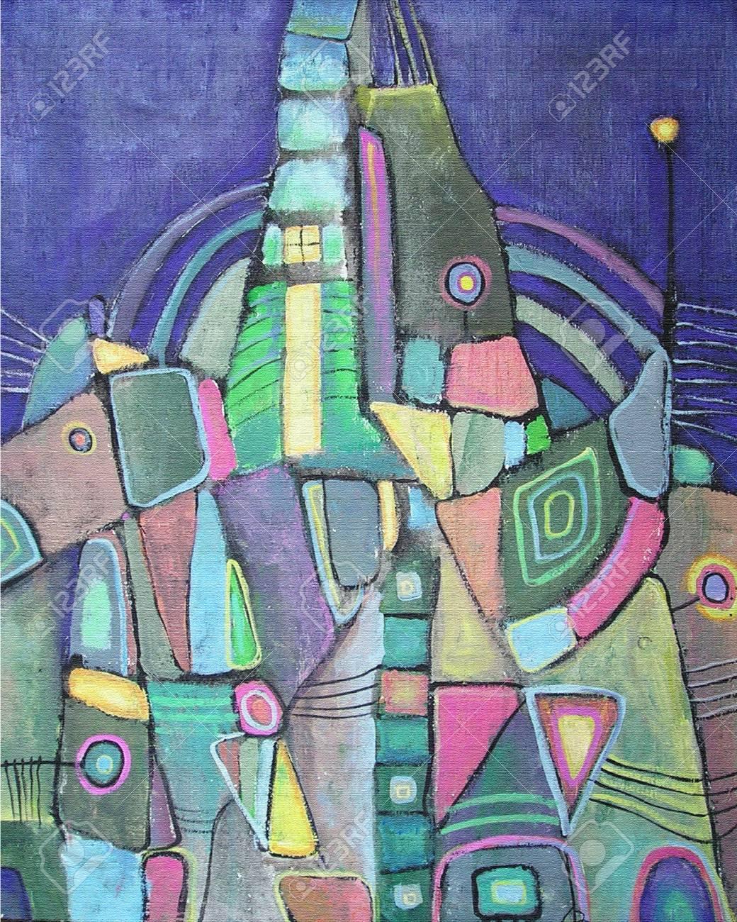 Acrilica Colorata Pittura Città Di Notte Astratto Con Diverse Forme  Geometriche. Composizione Astratta Sfondo Ispirato