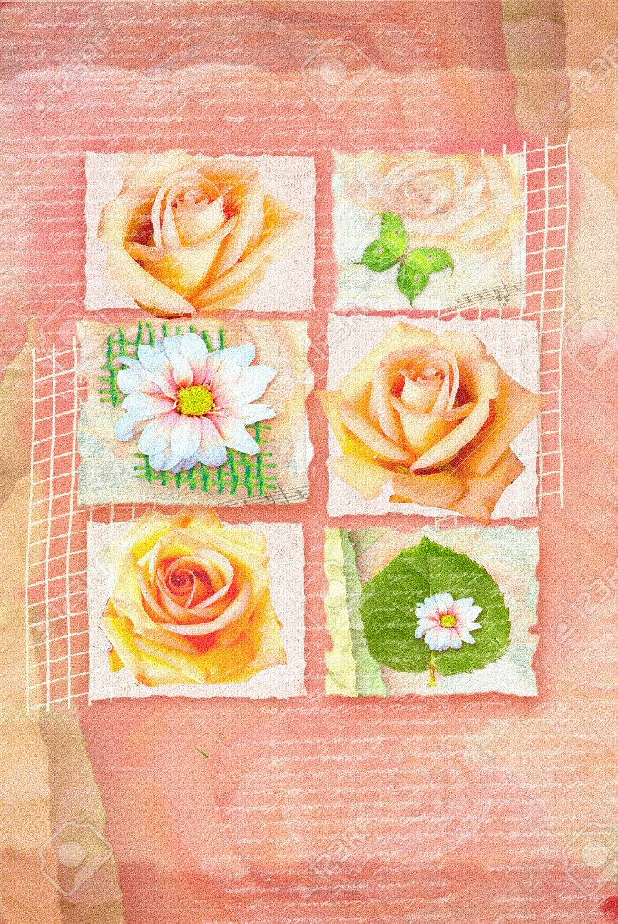 Congratulations card with pictures of flowers on separate plots congratulations card with pictures of flowers on separate plots and hand written text on abstract apricot izmirmasajfo
