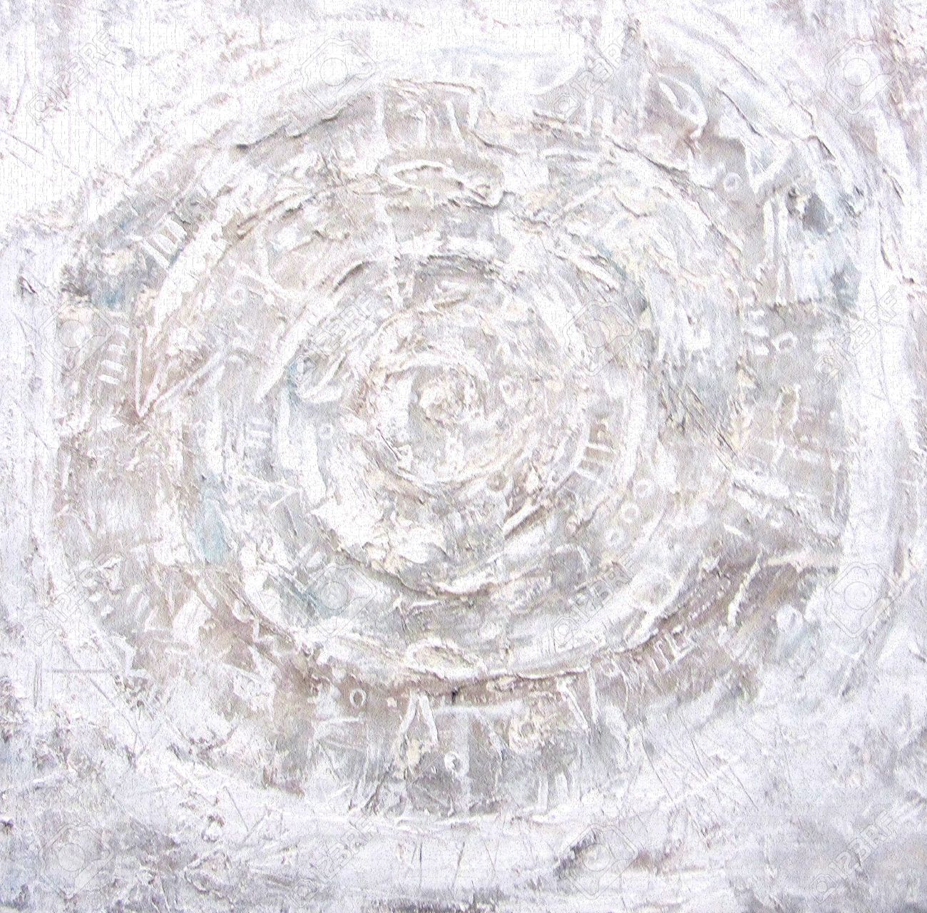 Acrylic Painting Fiery Circles On Textured Background Ragged