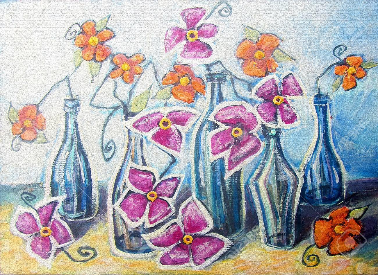 Peinture Acrylique Coloré Toile Décoratif Nature Morte Avec Des