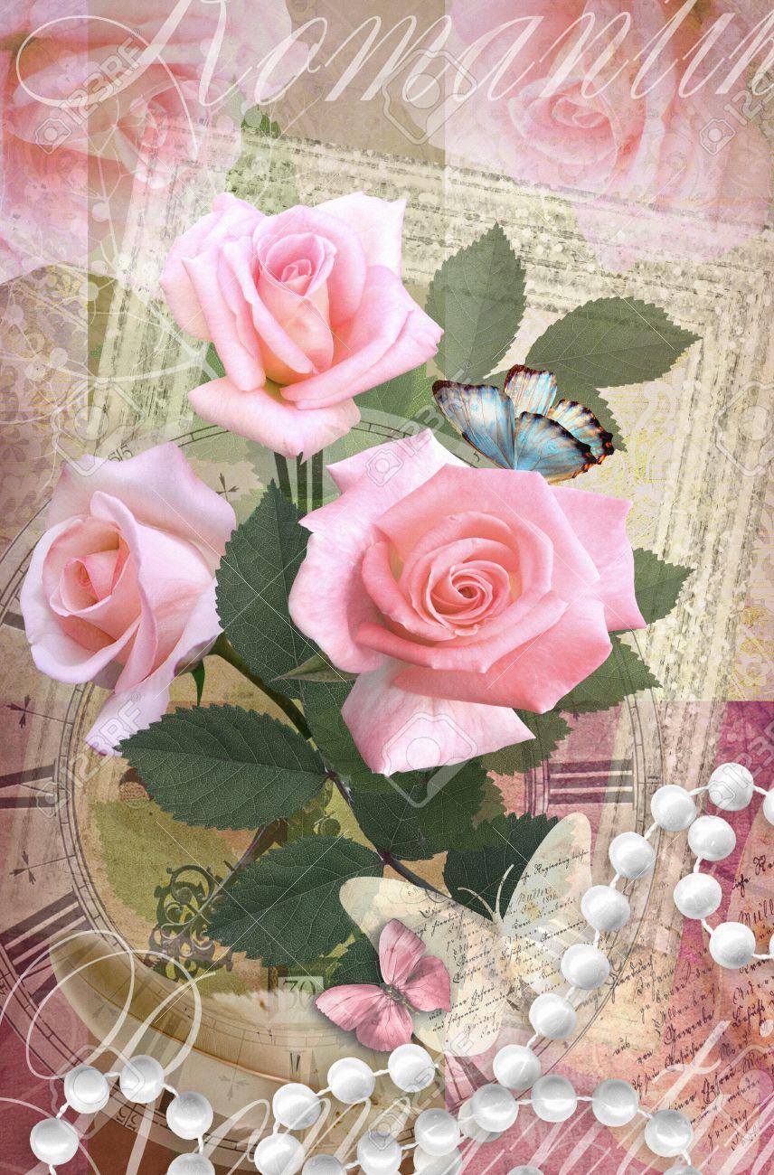 Carte Postale De Fleur Romantique Beau Design De Carte De