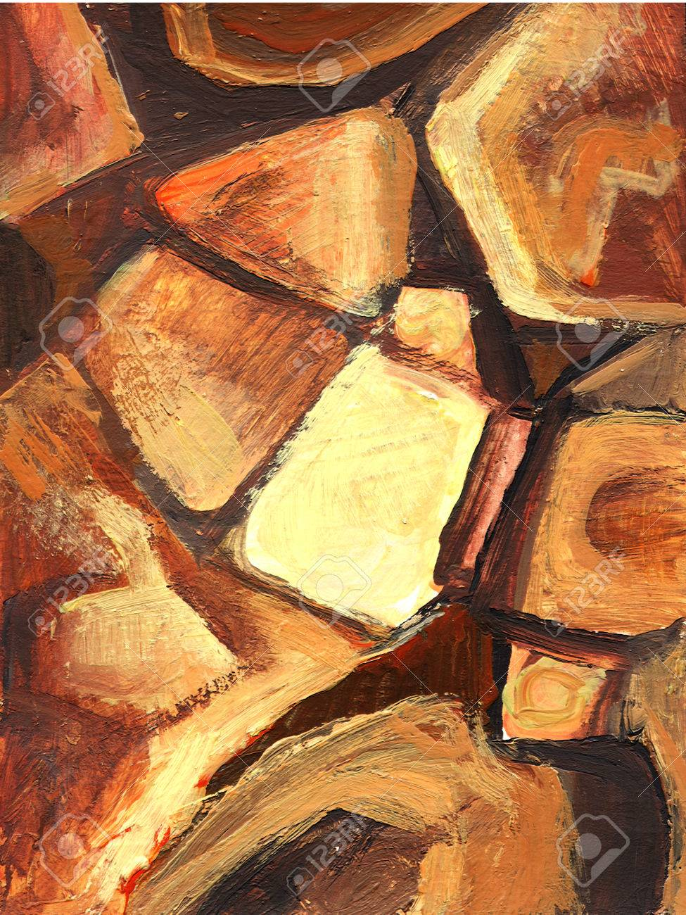 Art Abstract Painted Background With Orange And Brown Geometrical