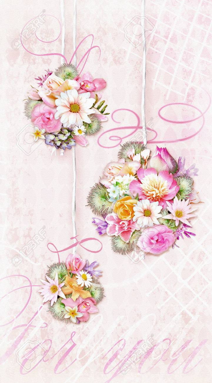 Mazzo Di Fiori Shabby.Colorful Bouquets Of Various Flowers Isolated On A Tender Shabby
