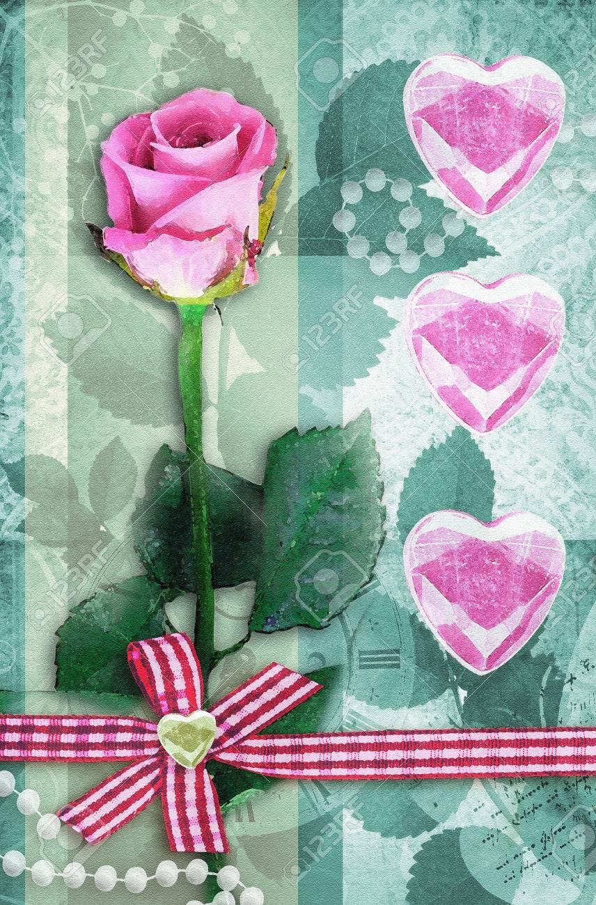 ... Einladungskarte Für Hochzeit Verwendet Werden. Schöne Rosa Rose Auf  Stamm Mit Blatt Auf Grünem Hintergrund. Single Stieg Valentinstag Karte