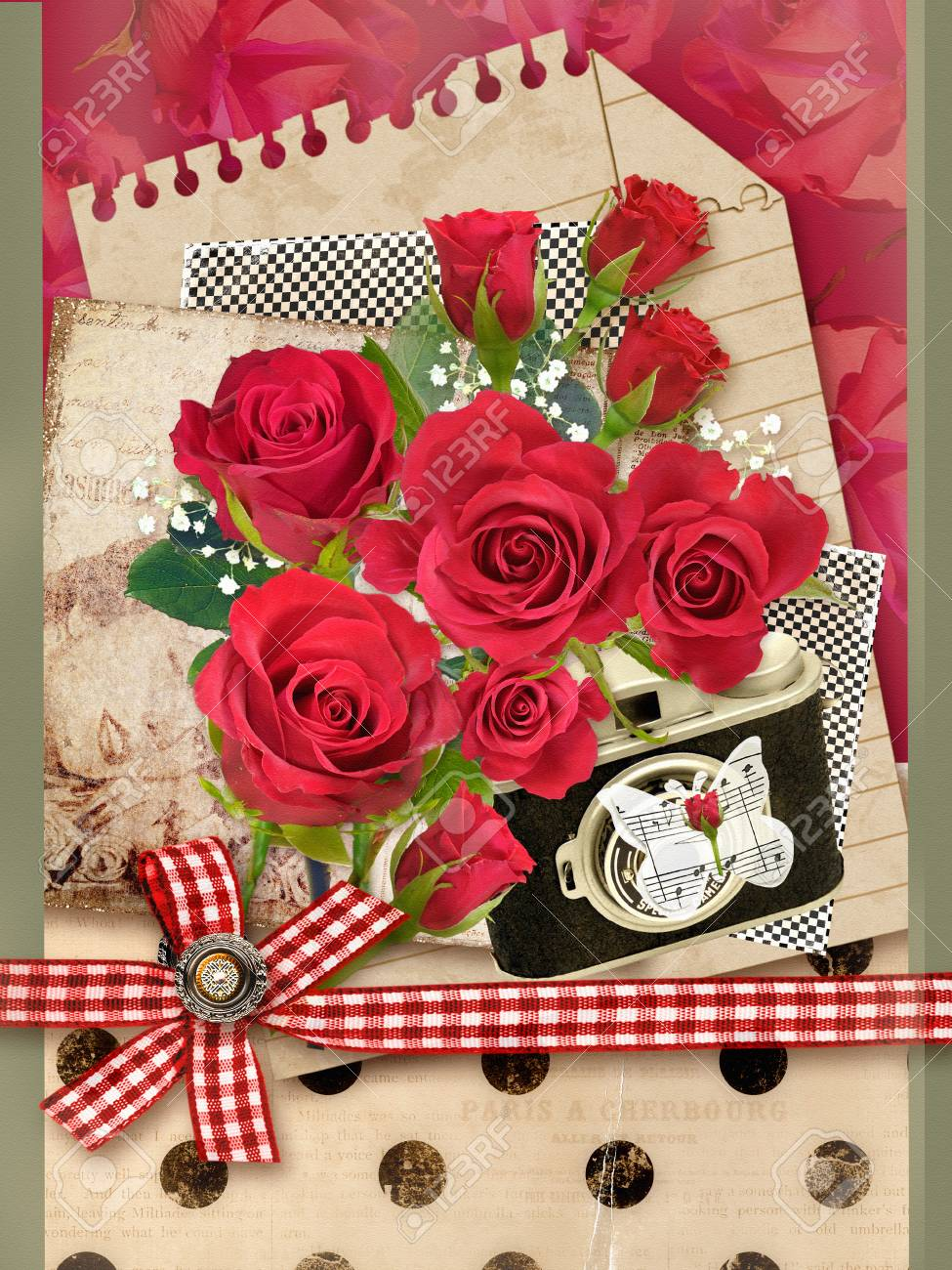 Holiday Card With Bouquet Of Beautiful Roses On A Old Paper ...
