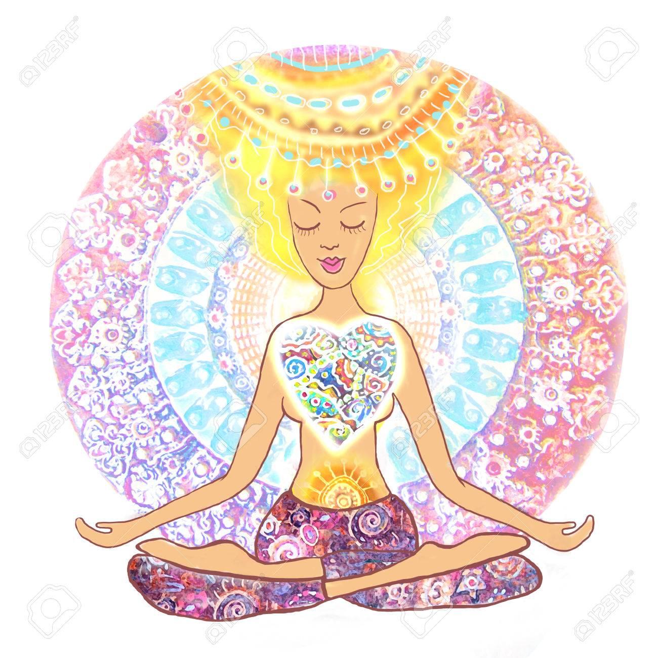 Yoga Lotus-Pose. Padmasana. Frau Yoga Zu Praktizieren. Hand ...