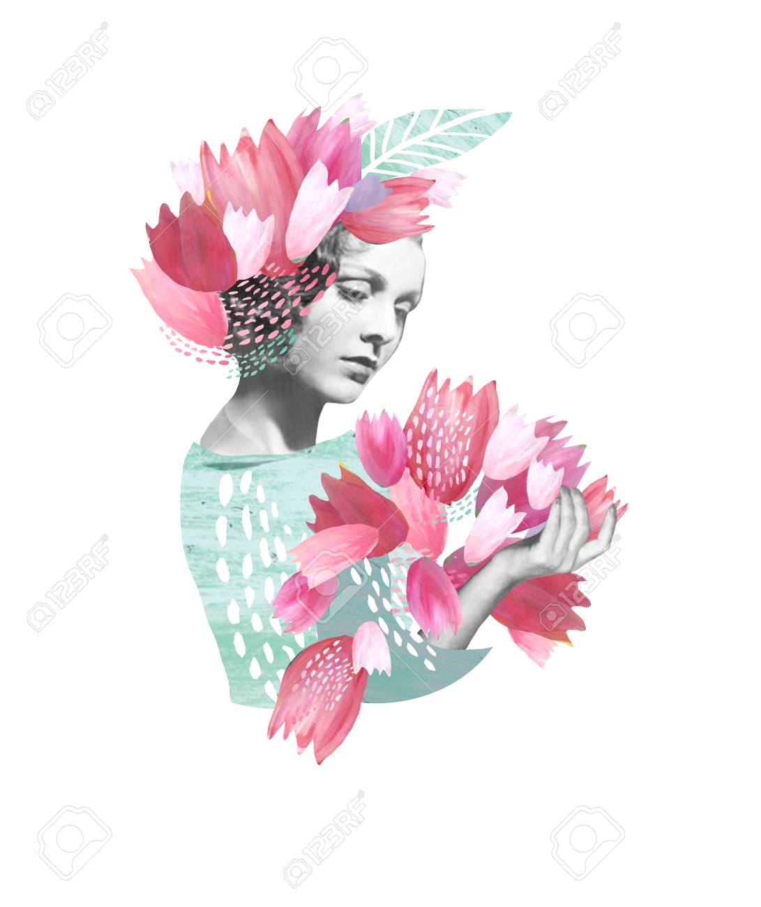 A collage girl with pink flowers in her hair and a bouquet of a collage girl with pink flowers in her hair and a bouquet of tulips congratulations izmirmasajfo