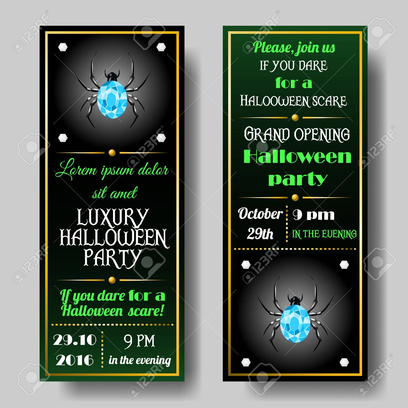 Halloween Party Invitations Set Invitation Card With Gold Elements