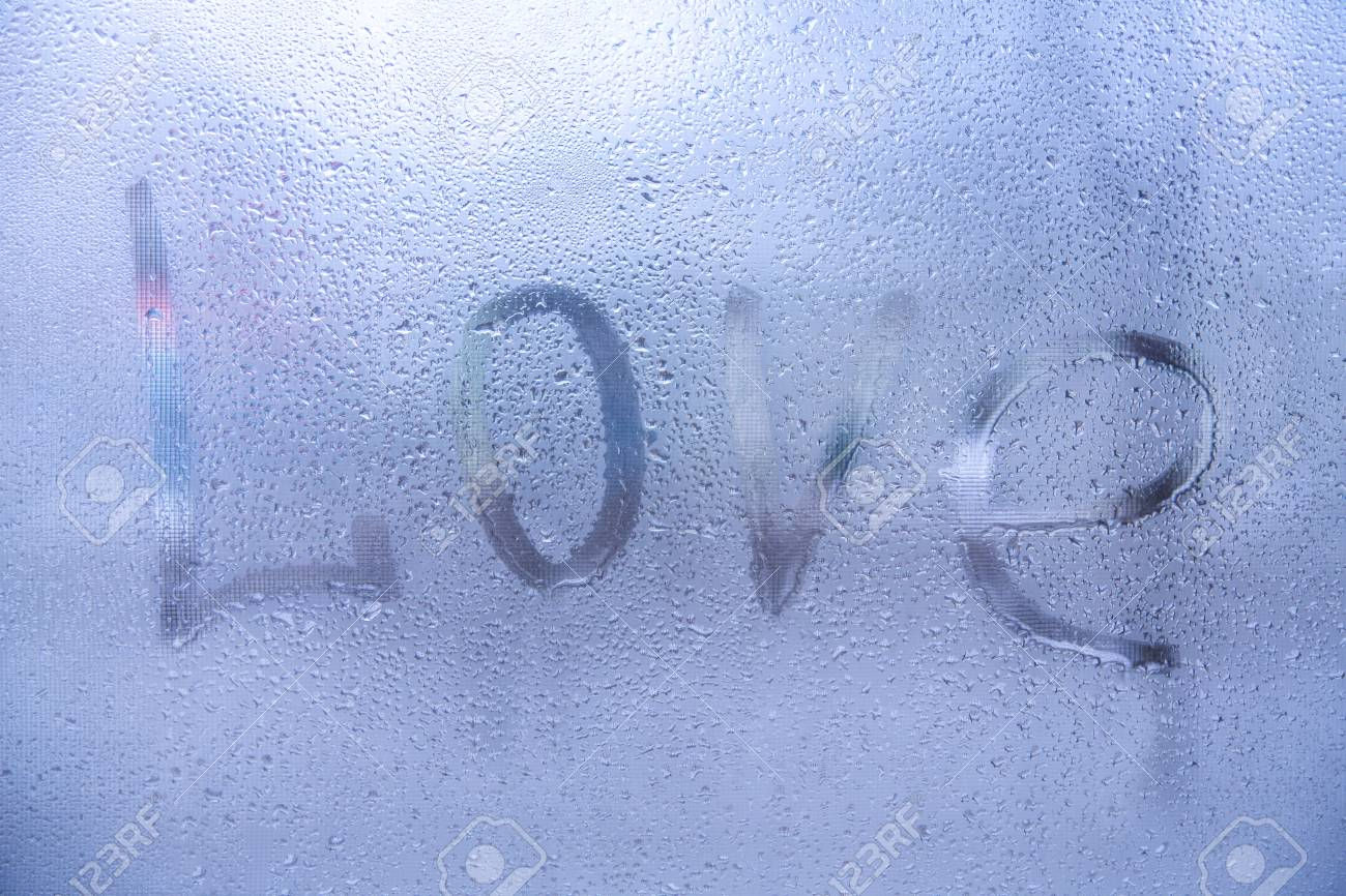 The Word Love Rain Or Water Drops On Window Gl Es Abstract Background Standard